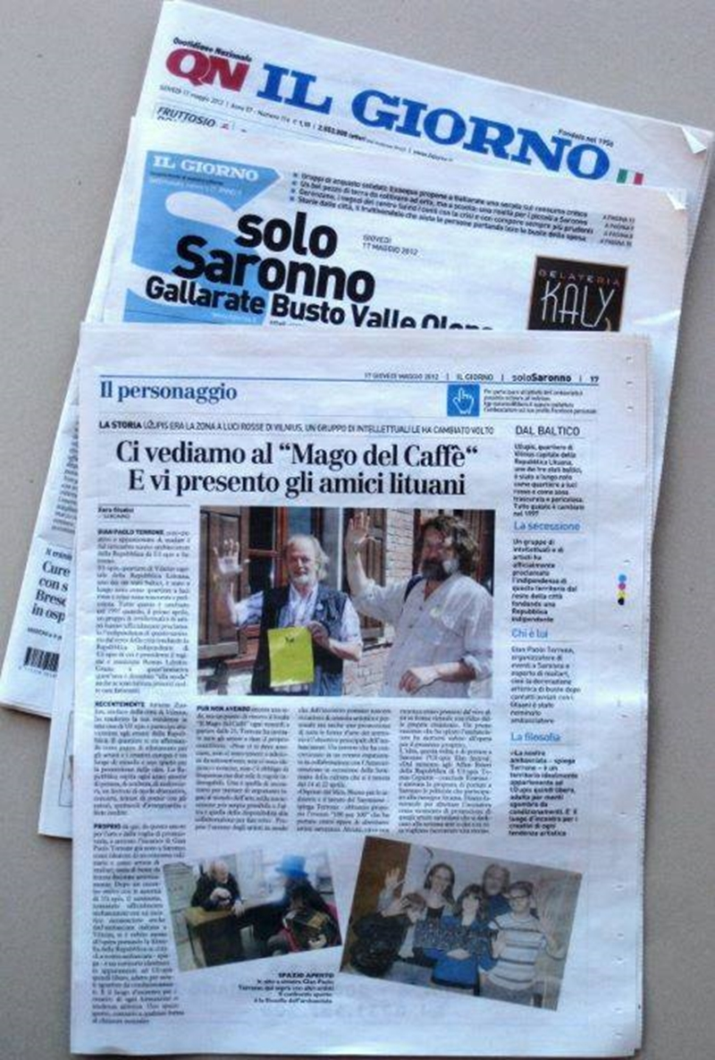 Articles in Italian press about Uzhupis visit