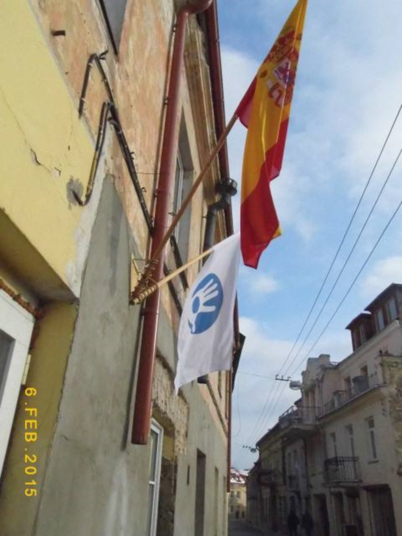 Uzhupis and Spanish flags on the day of unveiling the Spanish translation of Constitution