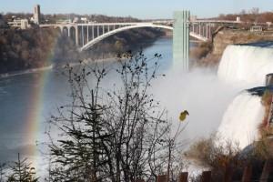 The American Falls and bridge to Canada