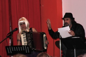 """Terri Carrion as """"The Entertainment Vampire"""" and Michael Rothenberg performing..."""